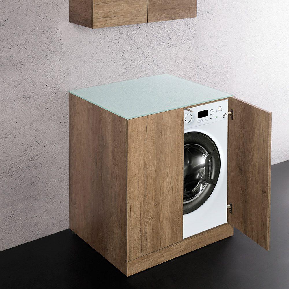 Mobile Da Esterno Per Lavatrice unika - base per inserimento lavatrice con top in cristallo cm 69x61