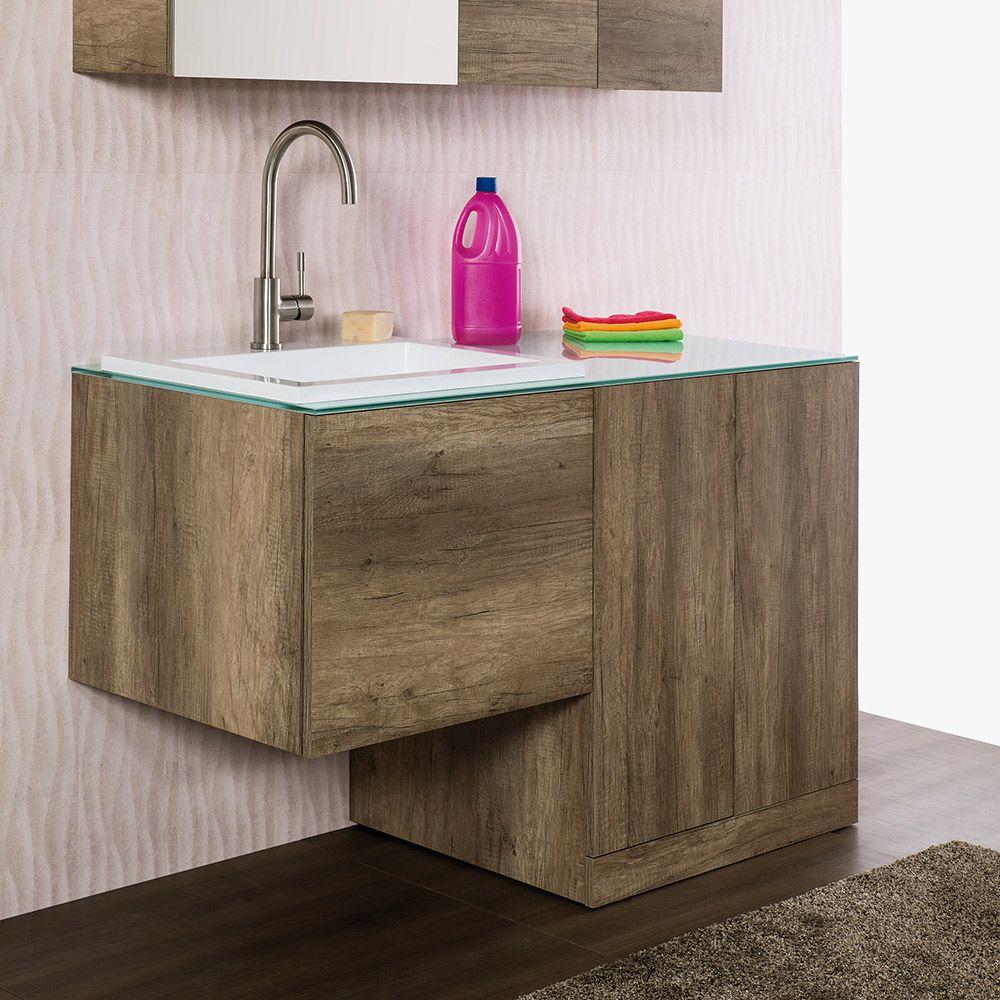 Mobile Lavello E Lavatrice unika - mobile sospeso con un cassettone, top in cristallo con lavabo  incassato modello zeus, base per inserimento lavatrice