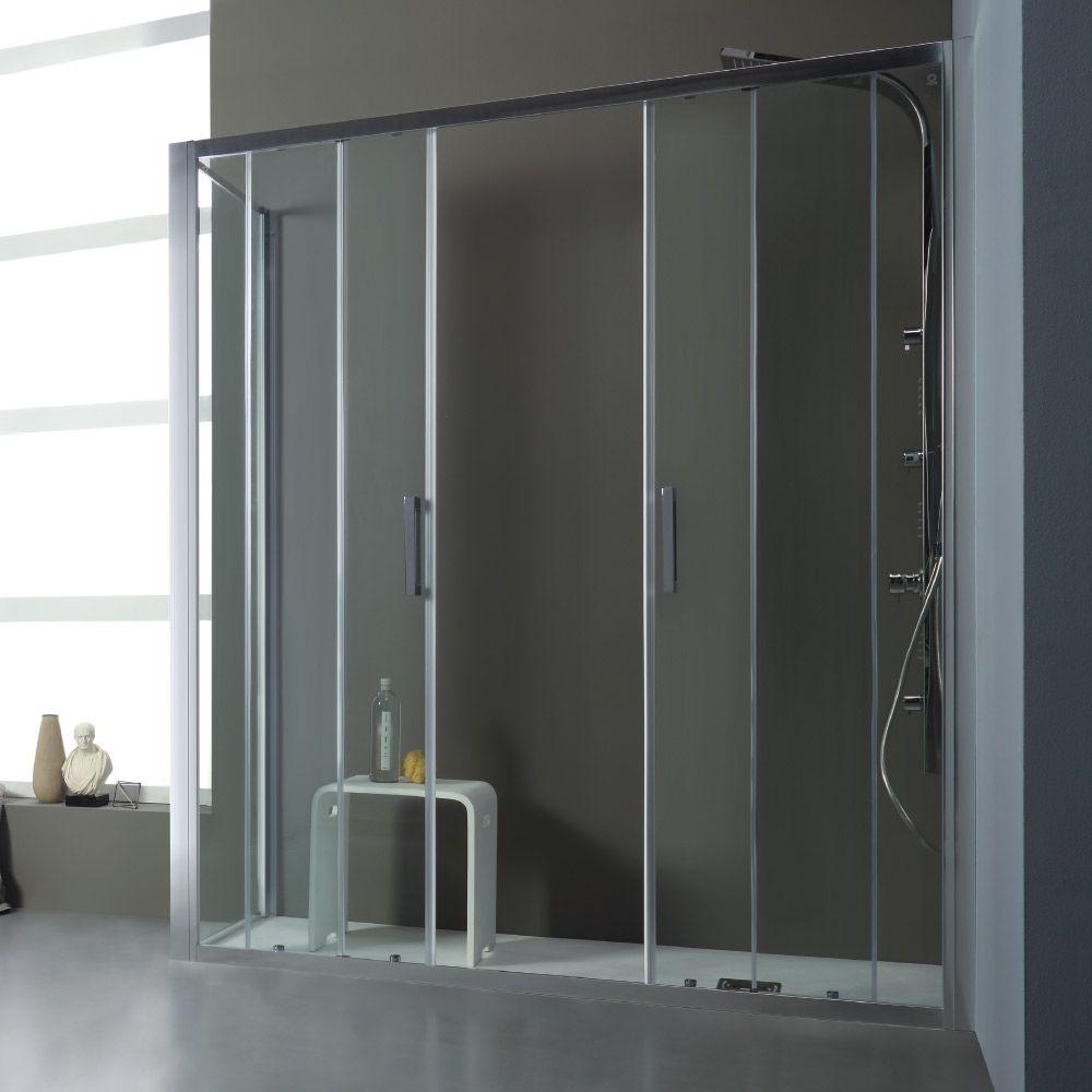 Free box doccia con doppia porta scorrevole centrale e un lato fisso - Siliconare box doccia interno o esterno ...