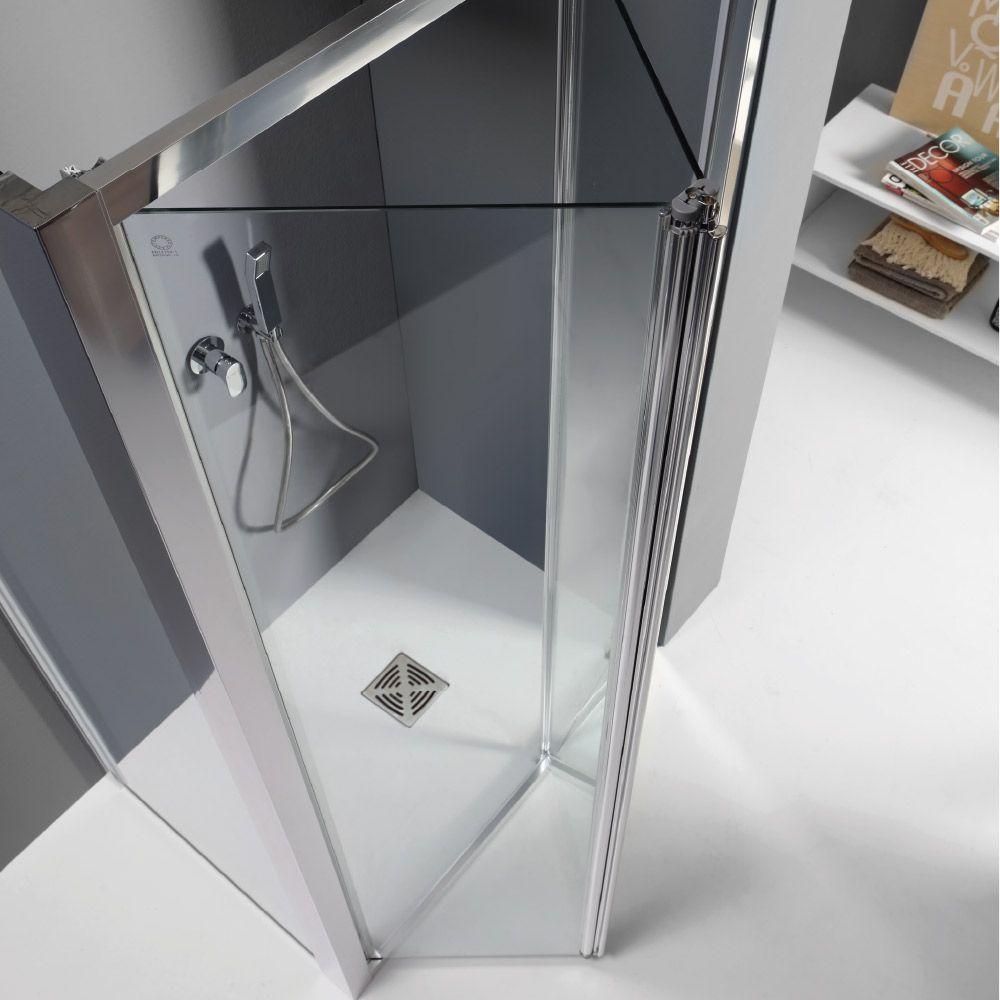 WIND - Box doccia con porta a soffietto e lato fisso