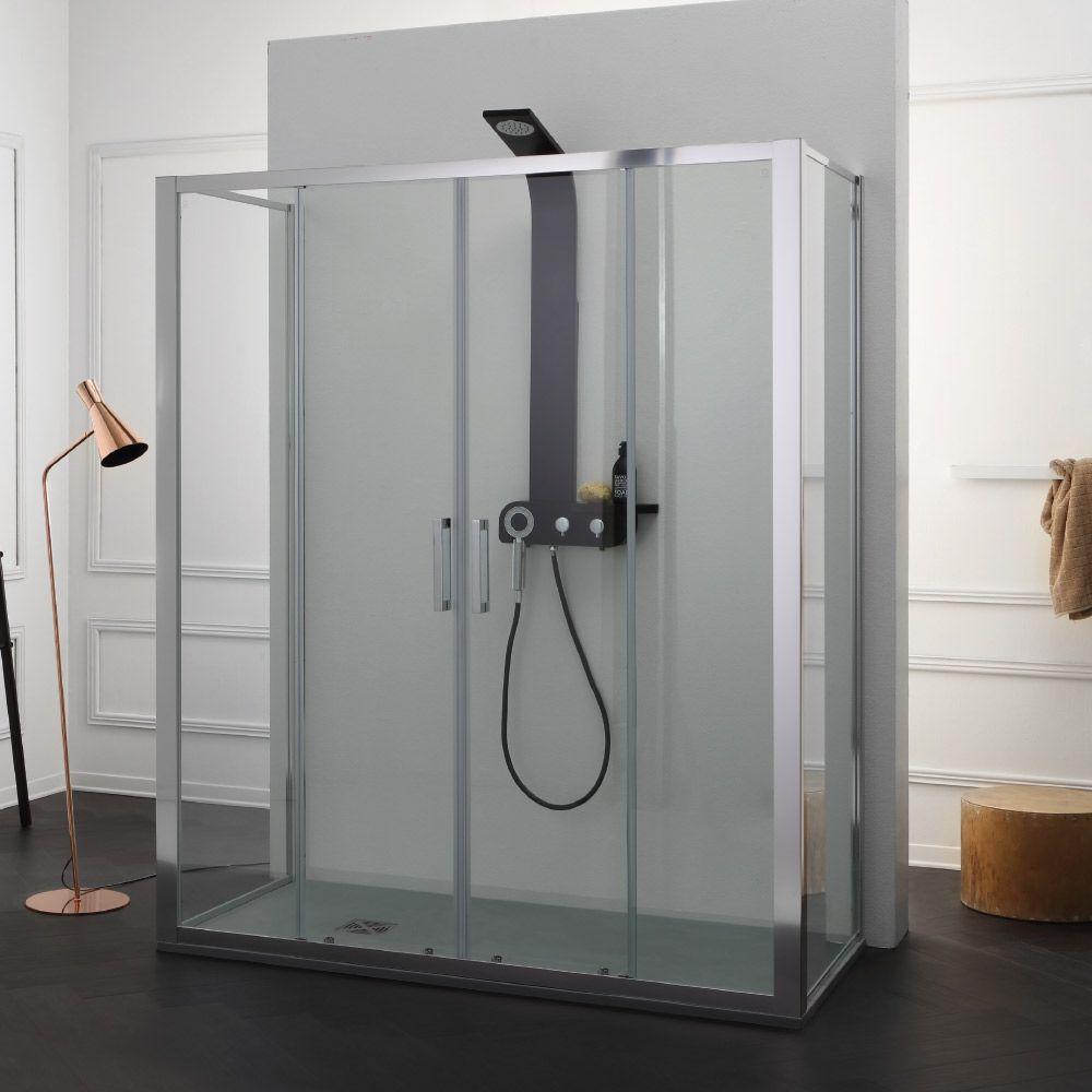 Free box doccia con doppia porta scorrevole centrale e - Porta scorrevole doppia ...