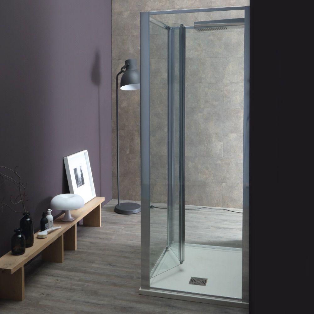 WIND - Box doccia con porta a soffietto e due lati fissi