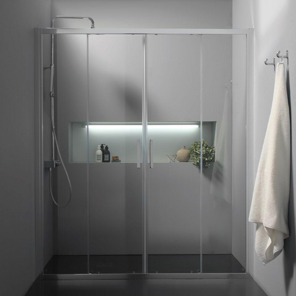 Free box doccia a nicchia con doppia porta scorrevole centrale - Porta scorrevole per doccia ...