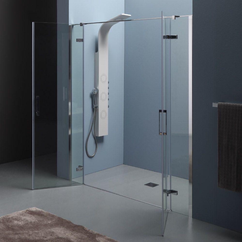 INFINITY - Box doccia a nicchia con doppia porta battente centrale