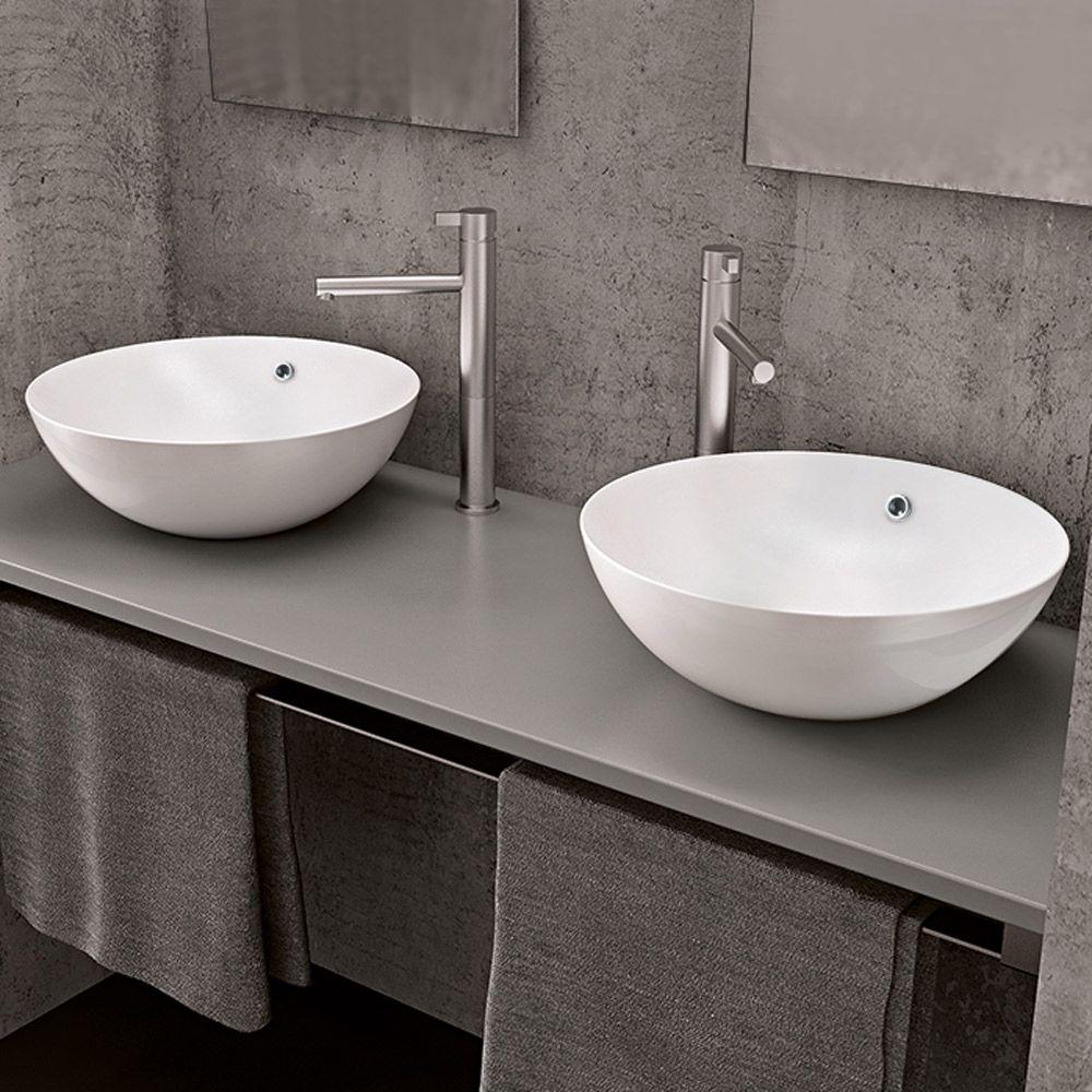 Kassel lavabo d 39 appoggio cm 43x43 for Altezza lavabo appoggio