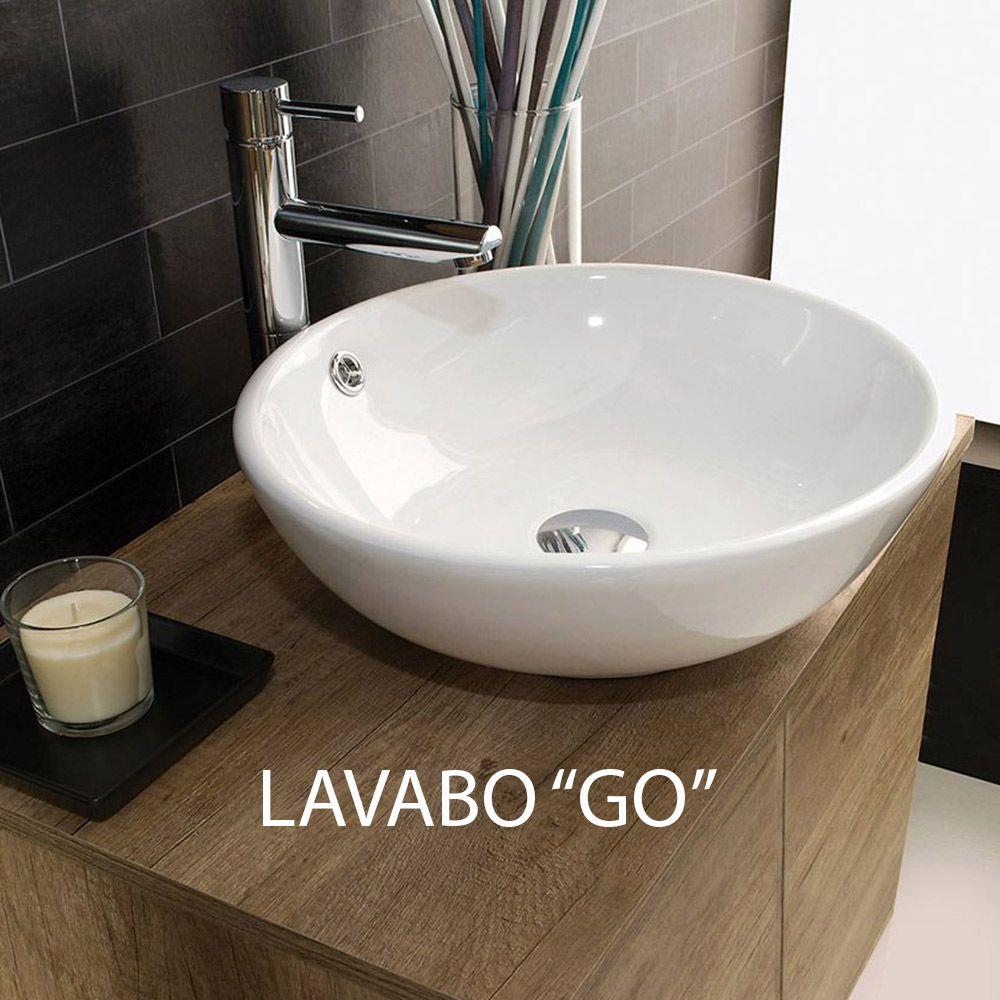 Mobile Bagno Lavandino Incasso unika - mobile sospeso con cassetti, con lavabo d'appoggio in ceramica, cm  70-80-100x46