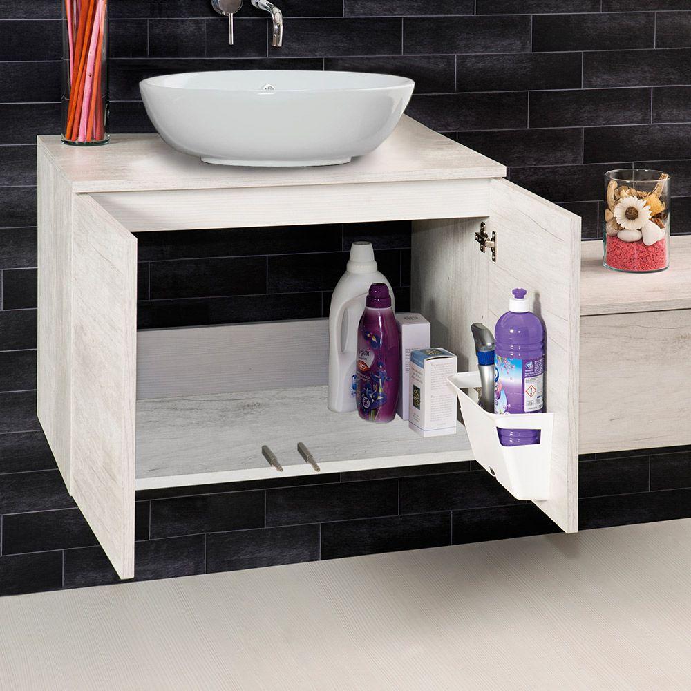 UNIKA - Mobile sospeso con ante finitura olmo bianco, per lavabo d ...
