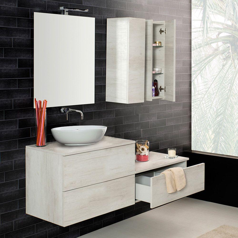 Unika mobile sospeso con lavabo d 39 appoggio in ceramica - Mobile bagno lavabo appoggio ...