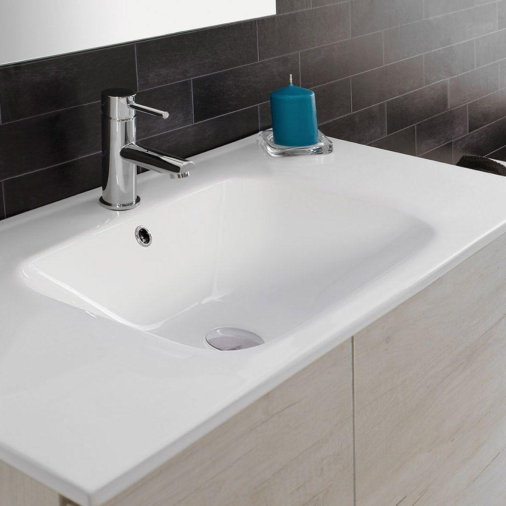 UNIKA - Mobile con ante sospeso finitura olmo bianco, con lavabo in ...
