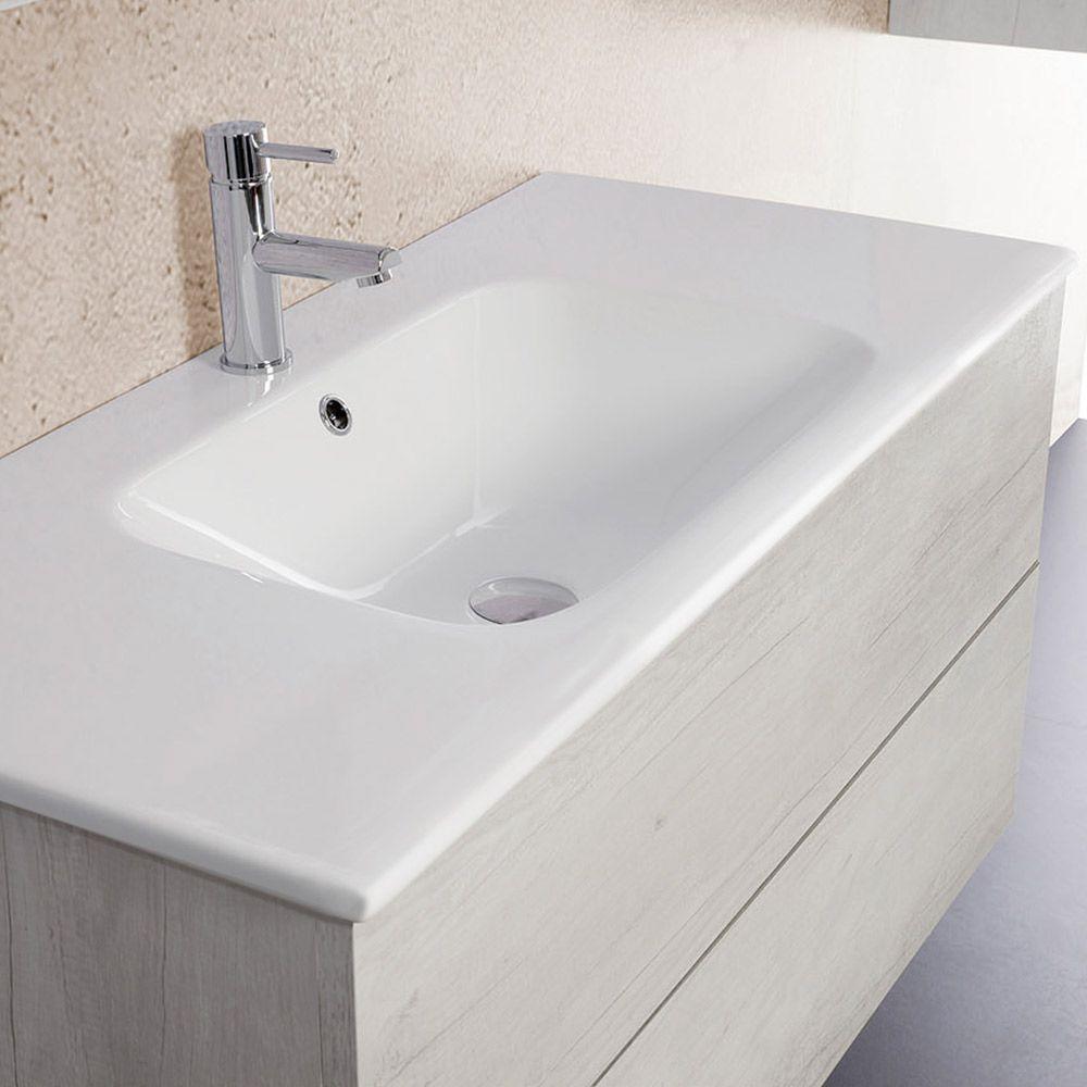UNIKA - Mobile sospeso finitura olmo bianco, con lavabo in ceramica ...