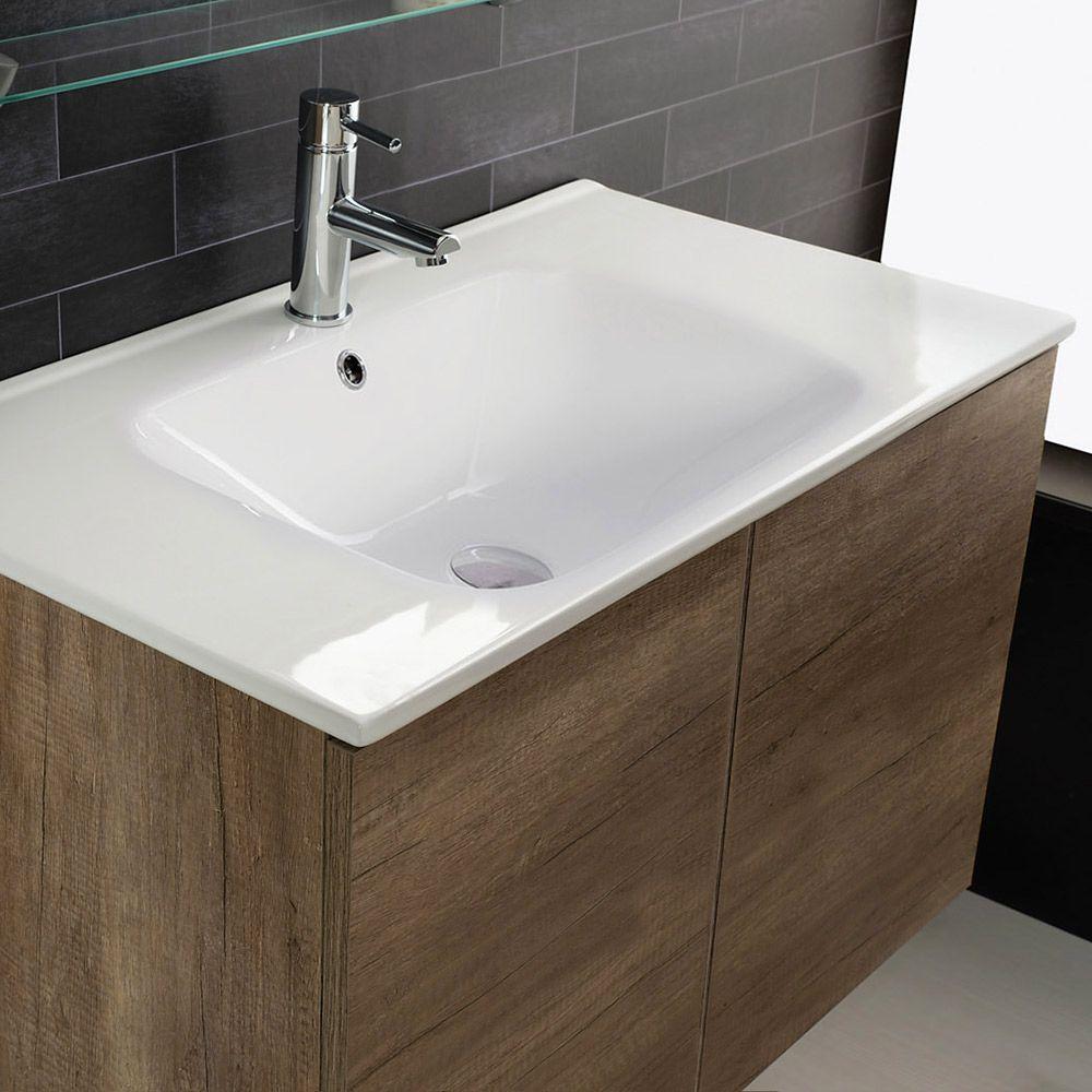 UNIKA - Mobile con ante sospeso finitura olmo naturale, con lavabo in  ceramica, cm 60-70-80-90-100x46
