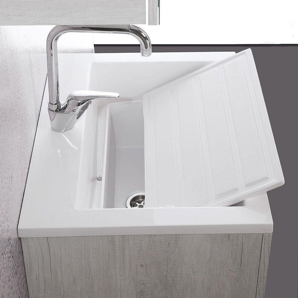 Zeus lavabo lavatoio con tavola e mobile sospeso - Mobile con lavatoio ...