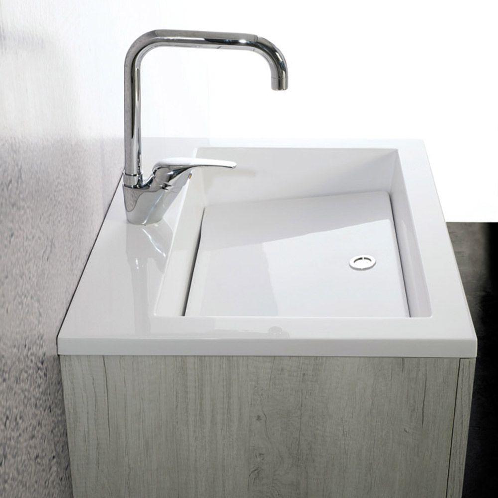 Zeus lavabo lavatoio con tavola e mobile sospeso for Altezza lavabo sospeso