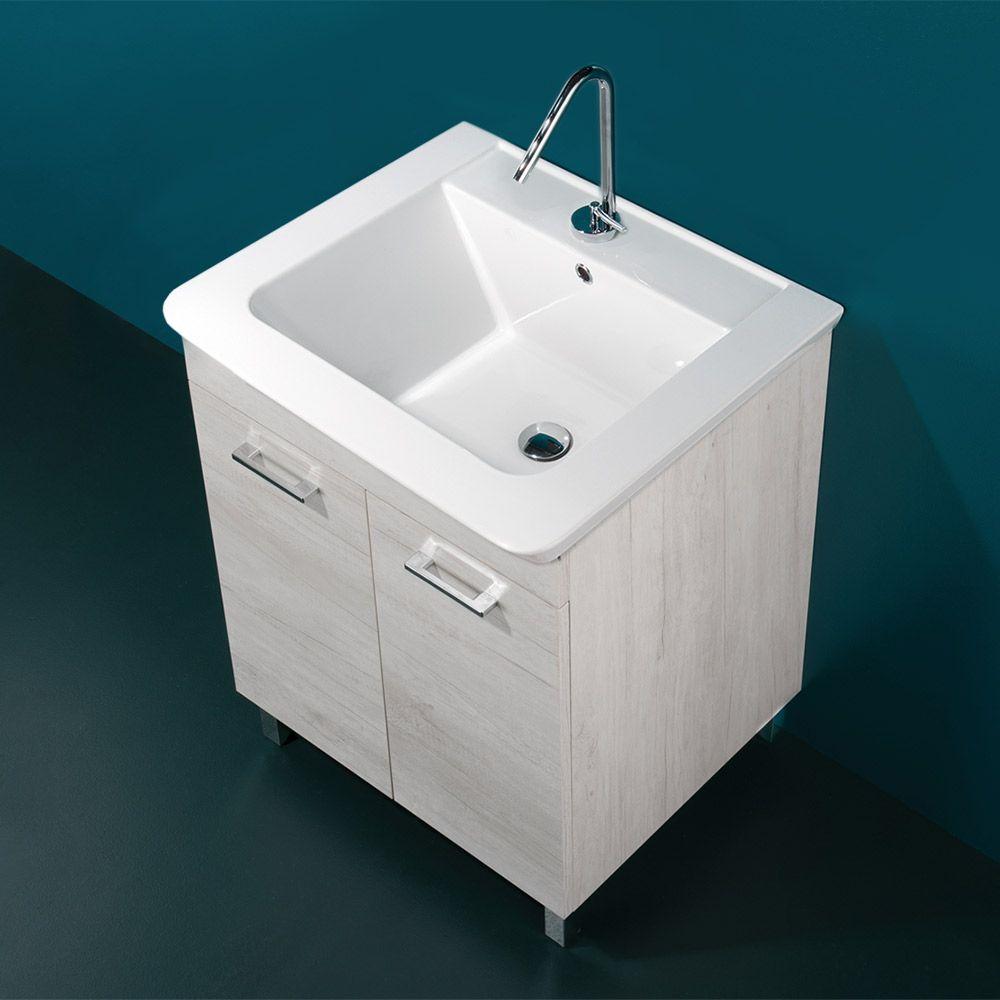 Lavatoio Ceramica Con Mobile.Deep Mobile A Terra Con Lavabo In Ceramica Cm 60x50