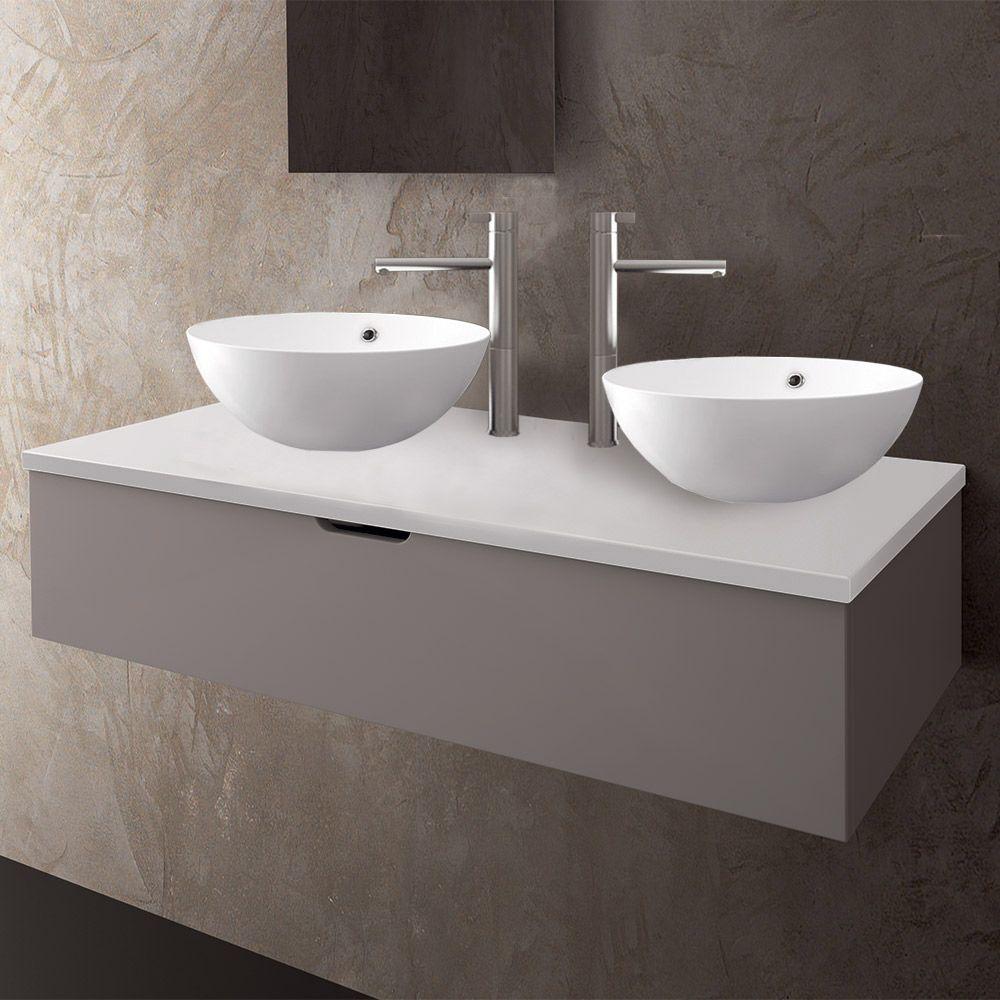 TOP in ceramica con doppio lavabo d\'appoggio KASSEL profondità 51 cm