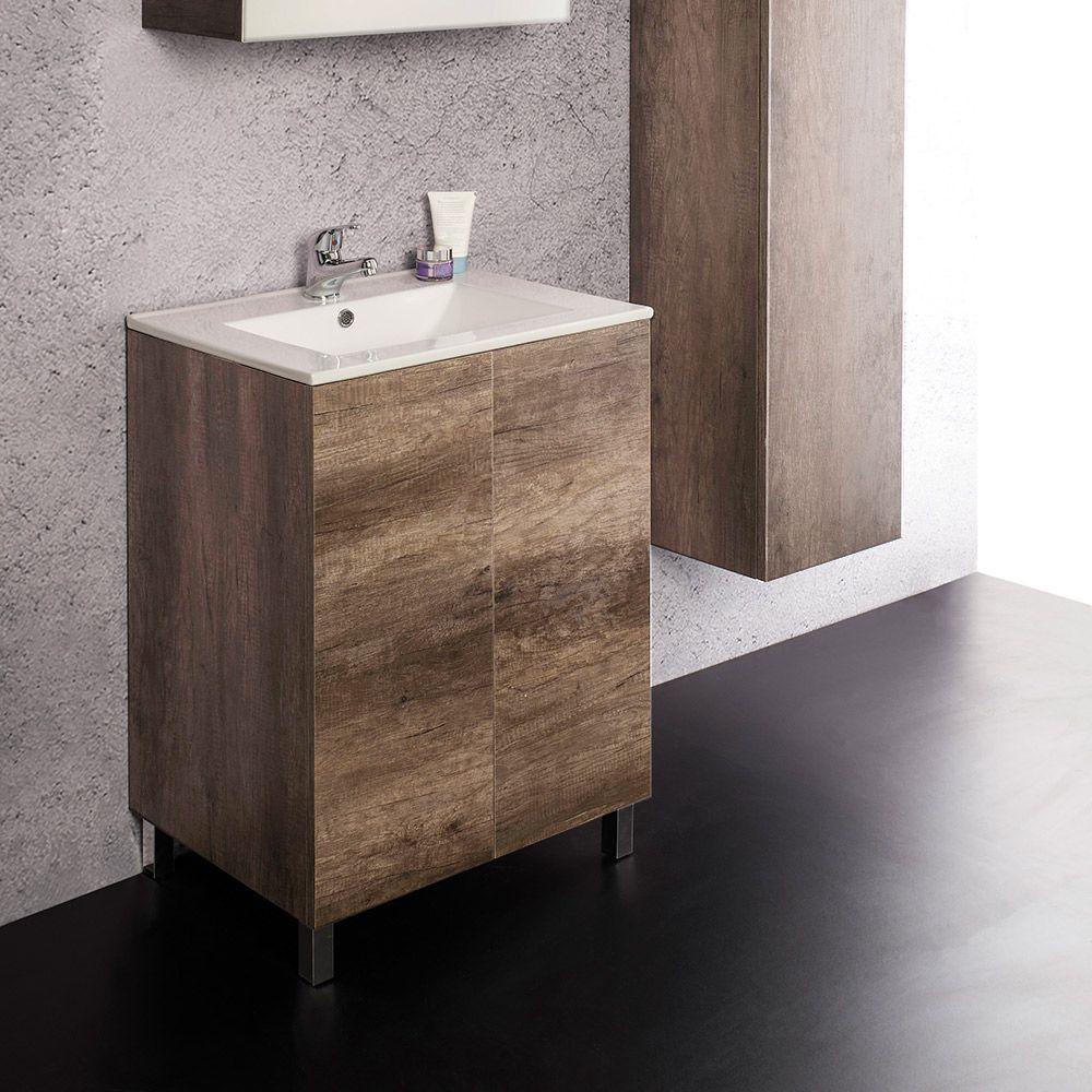 UNIKA - Mobile a terra con ante con lavabo in ceramica cm 60-70-80x46